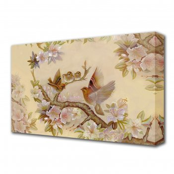 Картина на холсте птички на сакуре 60*100 см