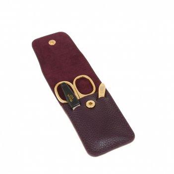 Маникюрный набор dewal, 3пр. футляр: натур.кожа, цвет баклажановый