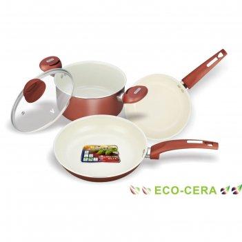 Набор кухонной посуды, 4 предмета: кастрюля с крышкой 2,8 л, сковорода d=2