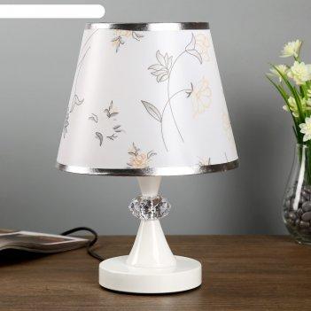 Лампа настольная с подсветкой пион 1х40вт е27 220в белый 21х21х35 см.