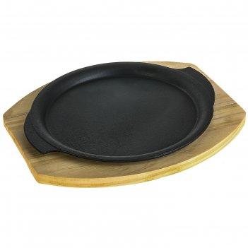 Сковорода чугунная 23 см круг восточный на подставке