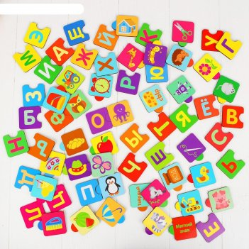 Алфавит русский пазл, деревянные фрагменты, рисунок наклеен