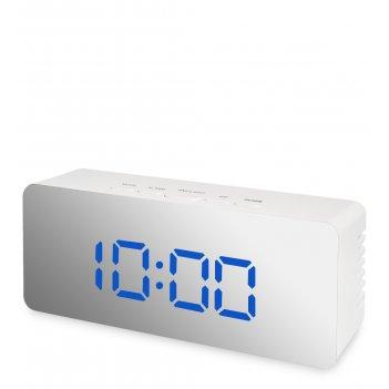 Ял-07-23/2 часы электронные мал. зеркальные (белые с синим циферблатом)