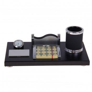 Набор настольный 4в1 (часы, визитница,блок для бумаги, подставка под ручки