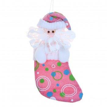 Носок для подарка дед мороз (розовый, в горох)