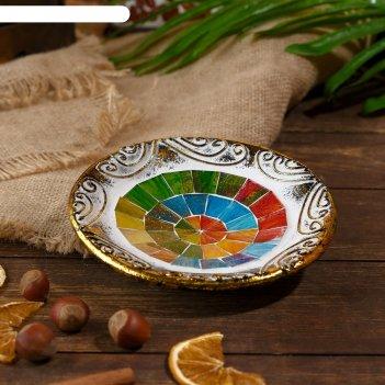 Тарелка декоративная элиша керамика 14х14х3 см