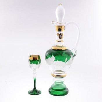 Набор для ликера 7 предметов волна зеленая e-s