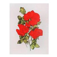 Набор для вышивания лентами розы красные размер основы 30*30 см