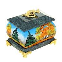 Шкатулка осень с рисунком и ящеркой на ножках 5х7 см змеевик