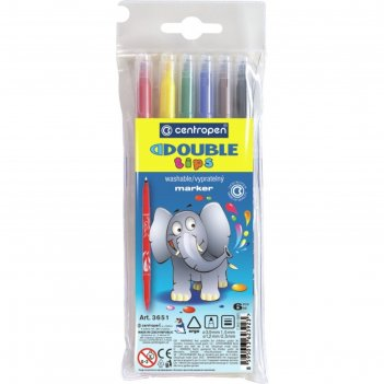 Фломастеры двухсторонние 6 цветов centropen double 3651/06, линии 1.5 мм и