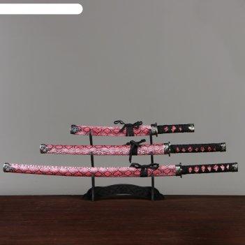 Катаны сувенирные 3в1 на подставке, кожа, малиновые ножны, под змею