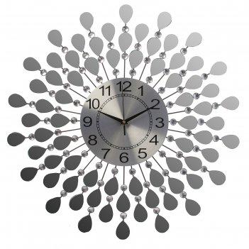 Часы настенные, серия: ажур, зеркальные лепестки, d=60 см