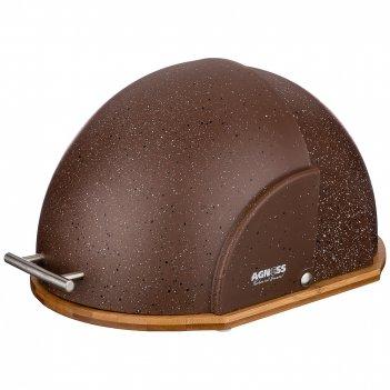 Хлебница agness деревянная с пластик. крышкой, цвет коричневый мрамор 36*2