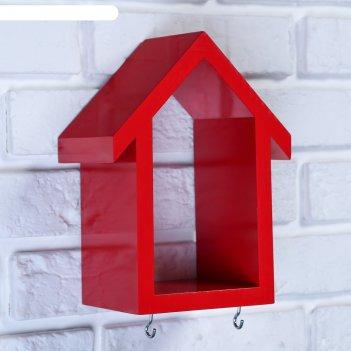 Ключница-полка домик малая, 2 крючка, красная  23*17*10