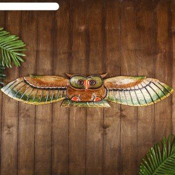 Настенное панно сова в полёте 100х18,5х3 см