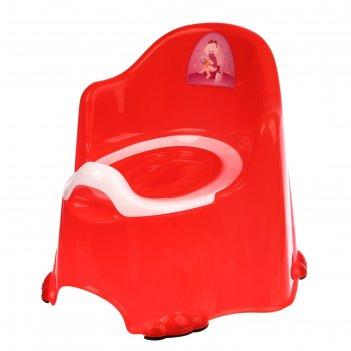 Горшок детский антискользящий «комфорт» с крышкой, съёмная чаша, цвет крас