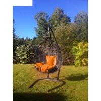 Подвесное кресло на стойке алания, черное/оранжевая