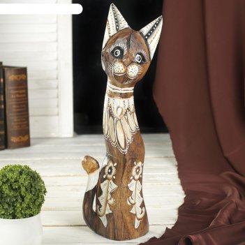 Сувенир дерево кошка с цветами 5,5х11х40 см