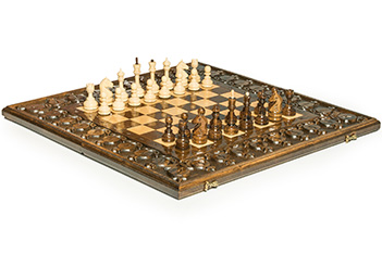 Шахматы + нарды резные гранат 60, haleyan (60х60см)