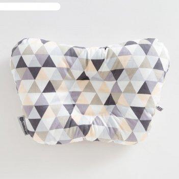 Подушка анатомическая крошка я  геометрия, 26х22 см, 100% хлопок, сатин