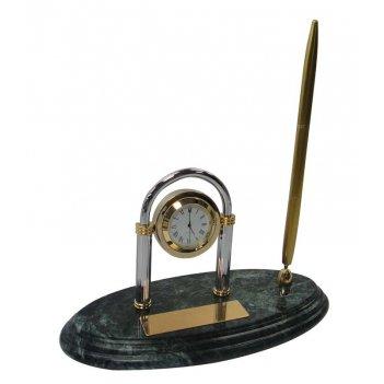 Настольный набор: ручка шариковая, часы из меди, на мраморной подставке, 2