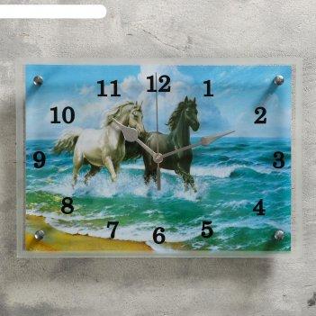 Часы настенные, серия: животный мир, лошади в море, 25х35  см, микс