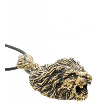 Am-1684 подвеска лев (латунь, янтарь)