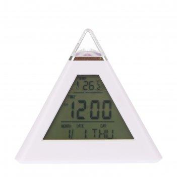 Электронные часы-будильник зеленая пирамида, подсветка, температура, дата