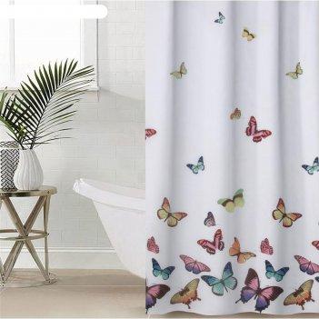 Штора для ванной бабочки, 180х180 см, полиэстер