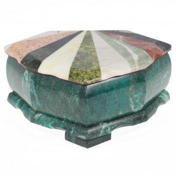 Шкатулка лепесток с мозаикой креноид змеевик офиокальцит мрамор 200х160х90