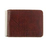 Зажим для денег+карман для мелочи, натуральная кожа, коричневая игуана