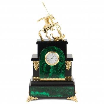 Часы георгий победоносец малахит долерит бронза 200х120х370 мм 5000 гр.