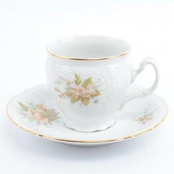 Набор чайных пар бочка bernadotte зеленый цветок 240 мл(6 пар)