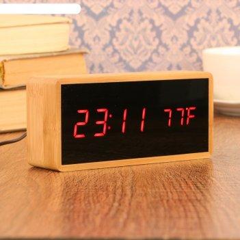 Часы-будильник электронные, с подсветкой, дата, красные цифры, 4ааа, 15x4x