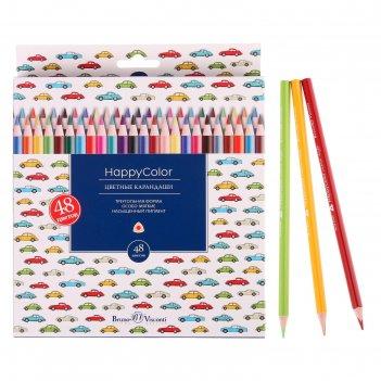 Карандаши 48 цветов happycolor, микс из 3 видов