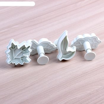 Набор плунжеров кондитерских «листва», 4 шт, цвета микс