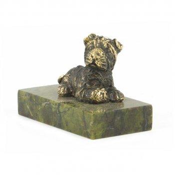 Статуэтка собачка малая №5 бронза змеевик 27х50х35 мм 70 гр.