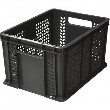 Ящик п/э 400х300х230 мм дно сплошное,стенки перфорированые с ручками черны