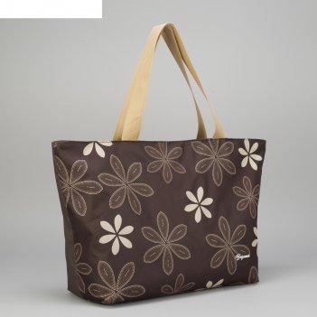 Сумка пляжная bagamas, отдел на молнии, цвет коричневый