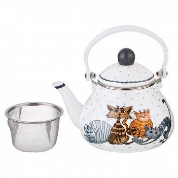 Чайник эмалированный agness озорные коты  с фильтром из нжс, 1,3л (кор=8шт