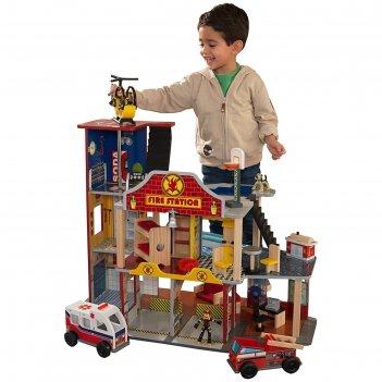 Игровой набор kidkraft делюкс «пожарно-спасательная станция»