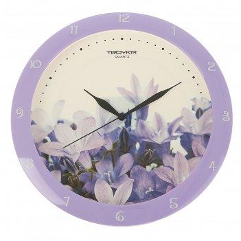 Часы настенные круглые сиреневые цветы, сиреневое кольцо