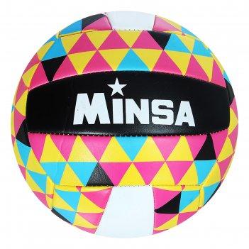 Мяч волейбольный minsa v11 р.5 18 панелей, pvc, 2 под. слоя, машин. сшивка