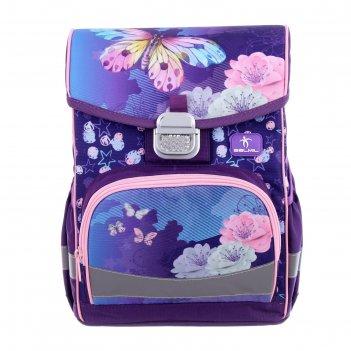 Ранец на замке belmil click 35 х 26 х 17, для девочки, my butterfly, сирен