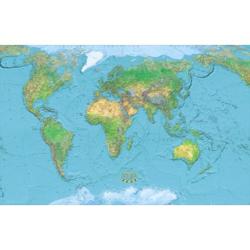 Физическая карта мира 115 x 180 см