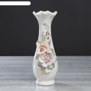 Ваза настольная вьюнок, цветная лепка, цветы, 30 см, микс, керамика