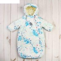 Спальный мешок для малышей eden, рост 62 см, цвет белый с принтом  71120_м