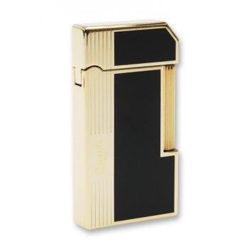 Ca59_1 зажигалка caseti газовая кремниевая, черный лак/золот