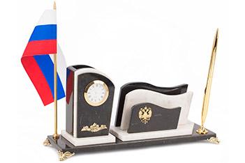Настольный набор с флагом россии мрамор 315х100х150 мм 2400 гр.