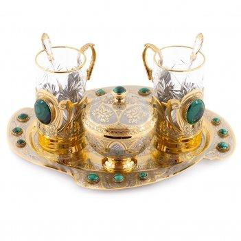 Чайный набор малахитовый